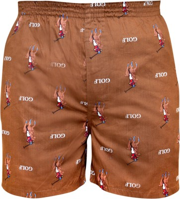 Gee & Bee Printed Men's Brown Basic Shorts