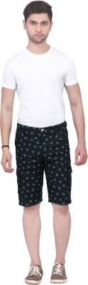 Trustedsnap Printed Men's Black Cargo Shorts
