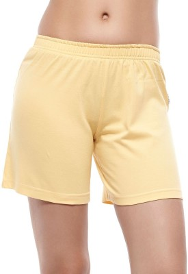 Coucou by Zivame Solid Women's Yellow Night Shorts