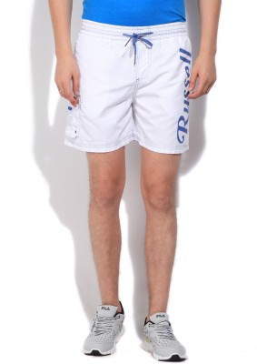 Russell Athletic Solid Men's White Sports Shorts