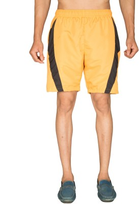 Vwear Solid Men's Yellow Sports Shorts