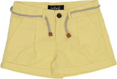 Irene Solid Girl's Yellow Hotpants