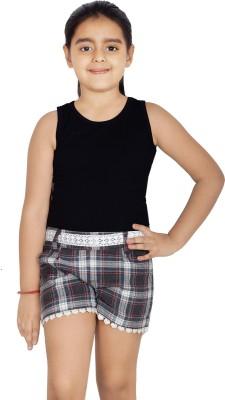 Naughty Ninos Checkered Girl's Grey Basic Shorts