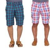 Ramarrow Checkered Men's Multicolor Carg...