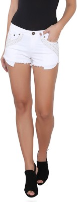 Again? Vintage Solid Women's White Chino Shorts