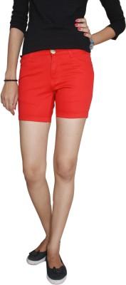 Fungus Solid Women's Red Denim Shorts