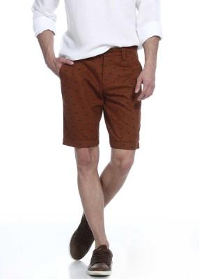Basics Printed Men's Brown Basic Shorts