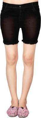 Manthan Solid Women's Black Basic Shorts, Beach Shorts at flipkart