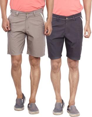 Calloway Solid Men's Black, Grey Basic Shorts