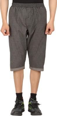Sixer Knitting Checkered Men,s Brown Basic Shorts
