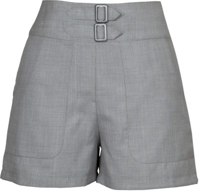 Fabulloso Checkered Women's Silver Basic Shorts