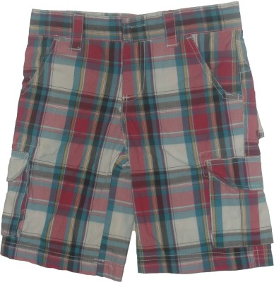 Red Rose Checkered Boy's Multicolor Cargo Shorts