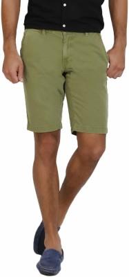 I-Voc Solid Men's Green Chino Shorts