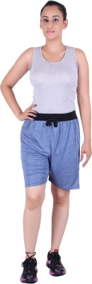 Gag Wear Solid Women's Dark Blue Denim Shorts at flipkart