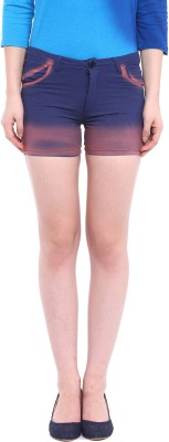 Campus Sutra Solid Women's Blue Hotpants