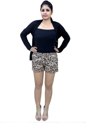 CrazeVilla Animal Print Women's Beige Hotpants