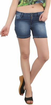 Bat Solid Women's Blue Denim Shorts