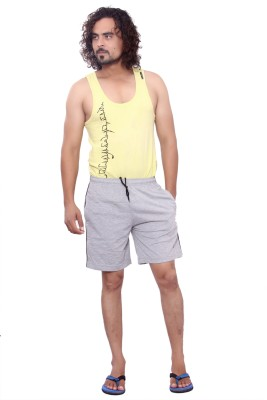 MountainColours Solid Men's Grey Basic Shorts