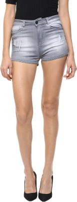 CODE 61 Self Design Women,s Grey Denim Shorts