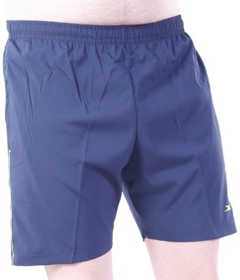 Zagros Solid Men's Dark Blue, Light Green Sports Shorts, Gym Shorts, Cycling Shorts