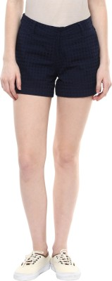 Honey By Pantaloons Embroidered Women's Dark Blue Basic Shorts at flipkart