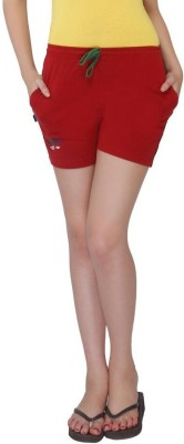 Red Ring Solid Women's Maroon Night Shorts
