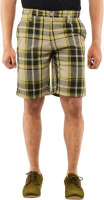 Blue Wave Checkered Men's Yellow Basic Shorts