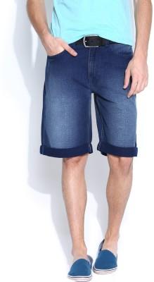 Pepe Jeans Solid Men's Blue Denim Shorts