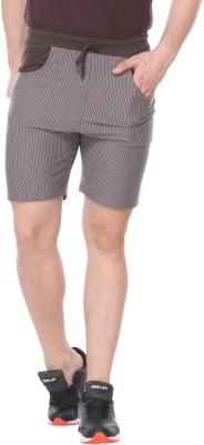 TAB91 Striped Men's Brown Basic Shorts