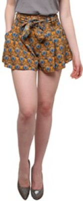 XnY Graphic Print Women's Yellow Hotpants