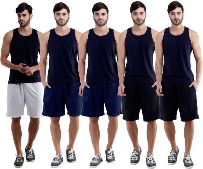 Dee Mannequin Self Design Men's White, Dark Blue, Dark Blue, Black, Black Sports Shorts