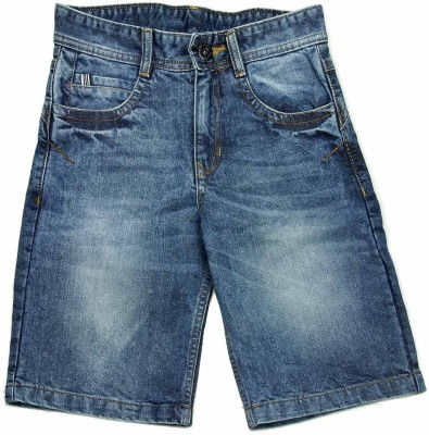 NASCENT Solid Boy,s Blue Denim Shorts