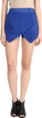 Athena Solid Women's Blue Basic Shorts at flipkart