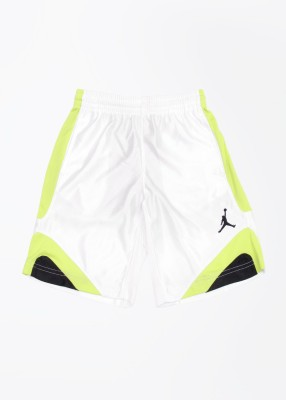 Jordan Kids Solid Boy's White, Black, Green Sports Shorts