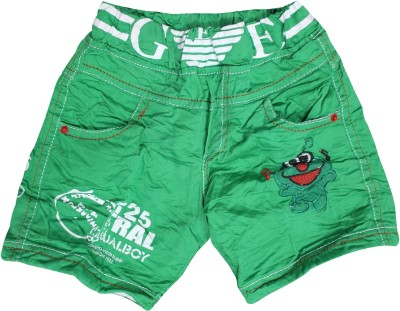 Mankoose Embroidered Boy's Green High Waist Shorts