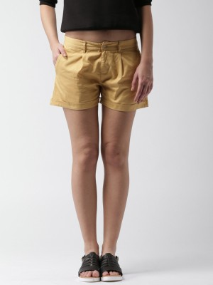 Mast & Harbour Solid Women's Yellow Basic Shorts