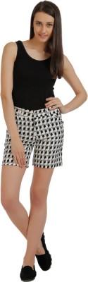 Holidae Geometric Print Women's Black, White Basic Shorts
