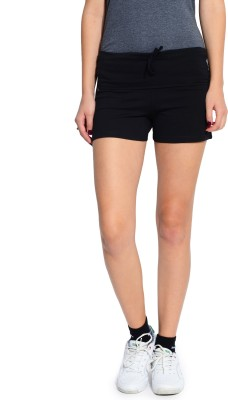 Ativo Solid Women's Black Sports Shorts