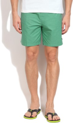 Quiksilver Solid Men,s Green Basic Shorts
