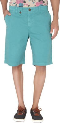 Jadeblue Solid Men's Green Bermuda Shorts