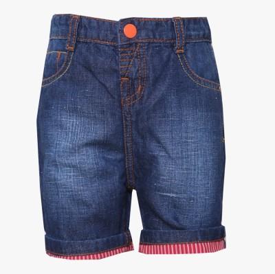 Tales & Stories Solid Baby Boy,s Denim Dark Blue Bermuda Shorts
