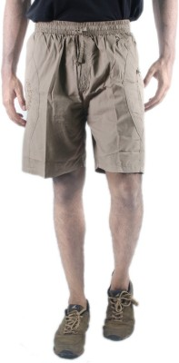 0-Degree Solid Men's Beige Chino Shorts