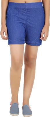 NOTYETbyus Solid Women's Blue Basic Shorts