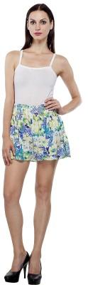 India Inc Floral Print Women's Blue Basic Shorts