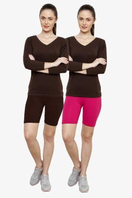 Softrose Solid Women's Brown, Pink Cycling Shorts