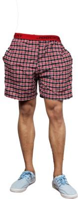 UNO COTTON Checkered Men's Red Night Shorts