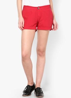 Only Solid Women's Red Basic Shorts at flipkart