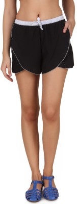 One Femme Printed Women's Black Dolphin Shorts