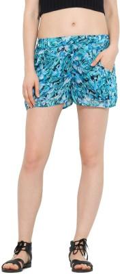 Trend Arrest Floral Print Women's Blue Beach Shorts