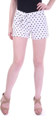 Street 9 Polka Print Women's White, Dark Blue High Waist Shorts